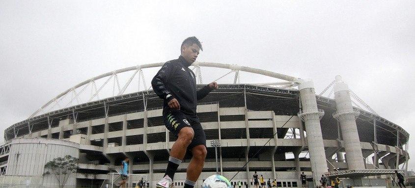 Lecaros treinou nesta quarta-feira em um dos campos anexos do estádio Nilton Santos