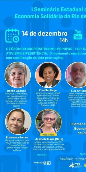 Cartaz da I Semana Estadual da Economia Solidária do Rio de Janeiro 2020