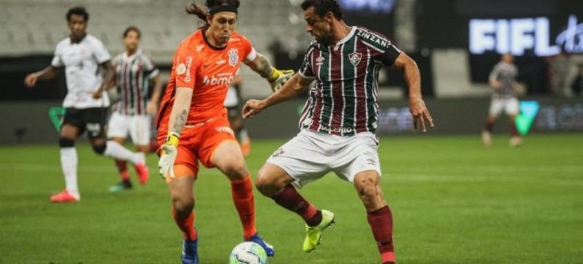 O atacante tricolor Fred não foi capaz de superar o goleiro corintiano Cássio