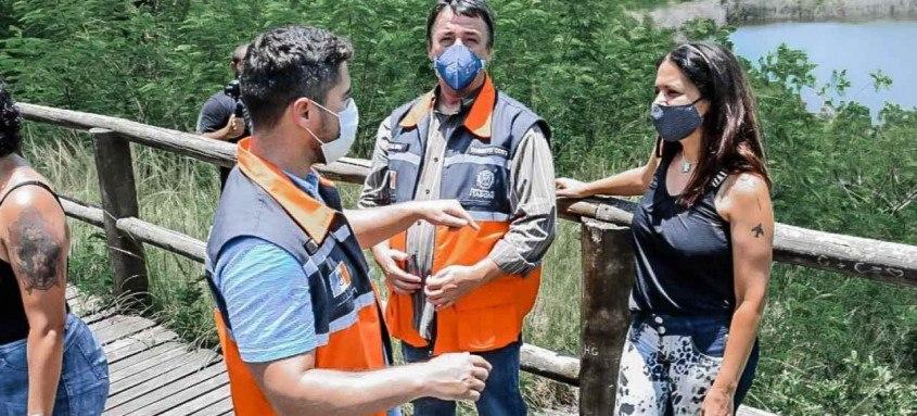 Na quarta-feira (13/01), uma ação integrada entre as secretarias de Meio Ambiente, Turismo e Cultura vistoriou as instalações do sítio arqueológico, no distrito de Cabuçu, para levantar as principais demandas necessárias para o retorno das visitações