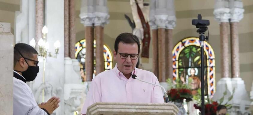 Prefeito do Rio, Eduardo Paes, participou nesta quarta-feira da missa de São Sebastião, padroeiro da cidade