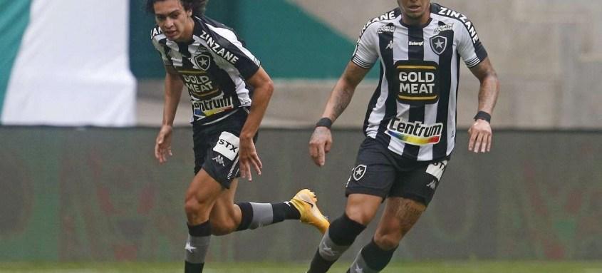 Rafael Navarro (com a bola) fez o gol de empate do Botafogo contra o Palmeiras