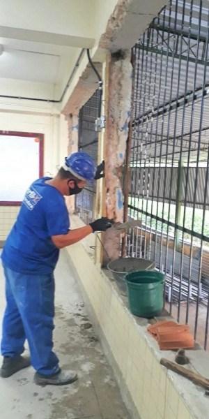 Intervenções nas escolas incluem pequenas obras, pintura interna e externa e reparos nos telhados, entre outras
