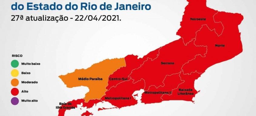 Apesar da bandeira vermelha, mapa aponta para uma melhora nos parâmetros epidemiológicos