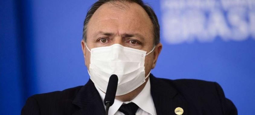 O ministro da Saúde, Eduardo Pazuello, durante cerimônia para sanção dos projetos de lei que ampliam a aquisição de vacinas pelo Governo Federal