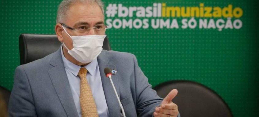 Ministro Marcelo Queiroga compareceu ontem à audiência pública com a comissão temporária de covid-19 do Senado